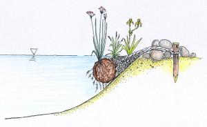 Xylit-Walze zur Bepflanzung steiler Uferbereiche